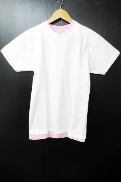 ヴェトモン ベトモン VETEMENTS 17ss × Hanes double-layer T-shirt プリントコットンジャージー Tシャツ S白ピンク ブランド古着ベクトル 中古 180123 0180