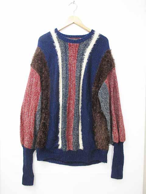 グラム glamb Striped creed knit GB0118/KNT05 長袖ニット 1赤/紺/茶/白 ブランド古着ベクトル 中古180704 0050 メンズ 【中古】【ベクトル 古着】 180704 プリマベーラ