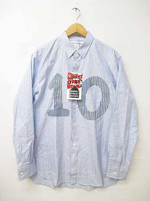 未使用品 コムデギャルソンシャツ COMME des GARCONS SHIRT × DSM10th10周年 Striped Shirt W22085 ストライプシャツ Mブルー ブランド古着ベクトル 中古180815 0085 メンズ 【中古】【ベクトル 古着】 180815 プリマベーラ