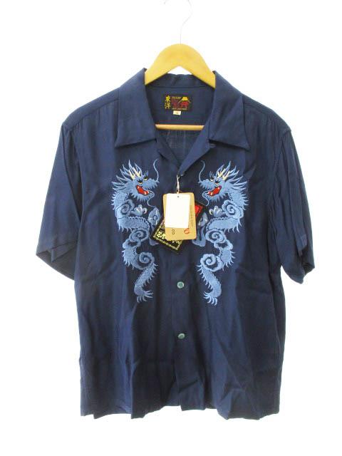 テーラートーヨー TAILOR TOYO 東洋 Short Sleeve Suka Rayoun shirt Dragon Embroidery TT37670 龍 刺繍 レーヨン スカ 半袖 シャツ M ネイビー ブランド古着ベクトル 中古 190407 0040 メンズ