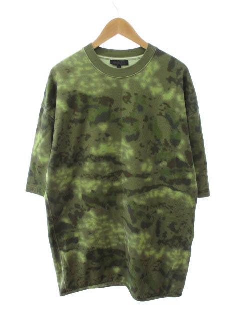 【中古】YEEZY SEASON3 イージーシーズン 16AW Camo t-shirt カモ柄 半袖 ヘビー ニット Tシャツ S カーキ 緑 ブランド古着ベクトル 中古 190427 0060 メンズ