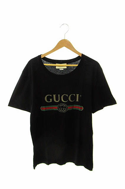 【中古】 グッチ GUCCI vintage logo T-shirt ヴィンテージ ロゴ半袖Tシャツ S黒ブラック ブランド古着ベクトル 中古■☆AA★190518 0100 メンズ