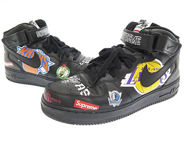 シュプリーム SUPREME X Nike NIKE AIR FORCE 1 MID 07 NBA air force one mid N B ace knee car AQ8017 001 28.5 black black brand old clothes vector used ☆ AA