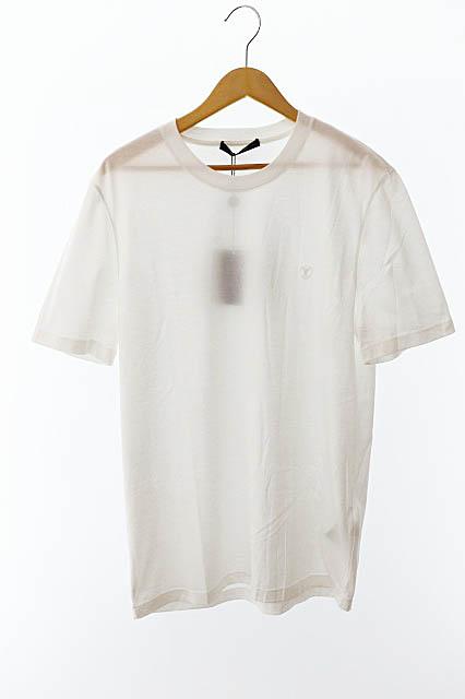 【中古】ルイヴィトン LOUIS VUITTON 未使用品 LV刺繍ロゴ クルーネック半袖Tシャツ VCCM09 RM192Q JC8 HAY50W L白ホワイト ブランド古着ベクトル 中古190828 0200 メンズ