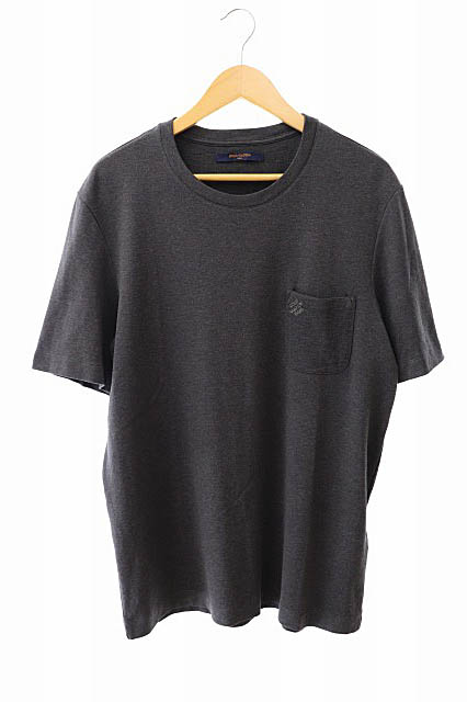 【中古】ルイヴィトン LOUIS VUITTON ダミエ ポケット クルーネック ロゴ刺繍 半袖Tシャツ VCCM09 XL ダークグレー ブランド古着ベクトル 中古190828 0140 メンズ