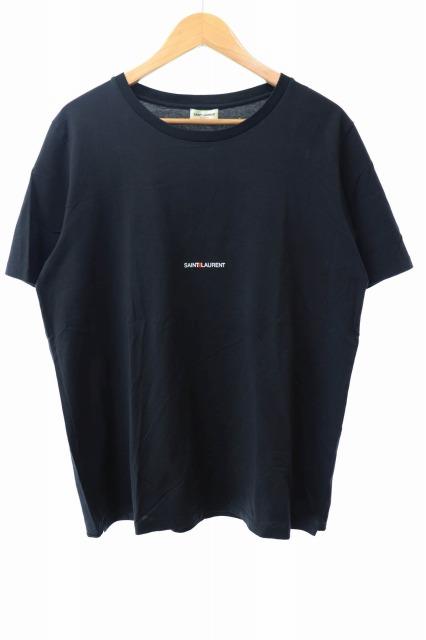 【中古】サンローラン パリ SAINT LAURENT PARIS S/S Cotton Logo T-Shirt コットン ロゴ 半袖Tシャツ XL 黒 ブラック ブランド古着ベクトル 中古☆AA★191004 0120
