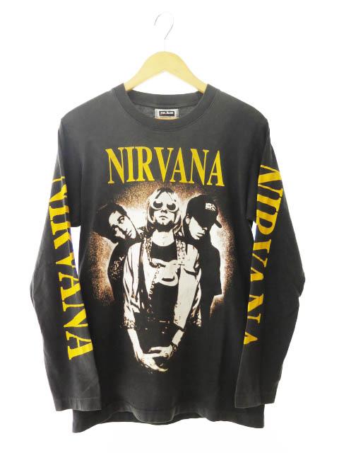 【中古】ヴィンテージ VINTAGE 90s Nirvana ニルヴァーナ 袖プリント 長袖 Tシャツ ロンT THE ROXX製 M 黒 ブラック ブランド古着ベクトル 中古191013 0080 メンズ