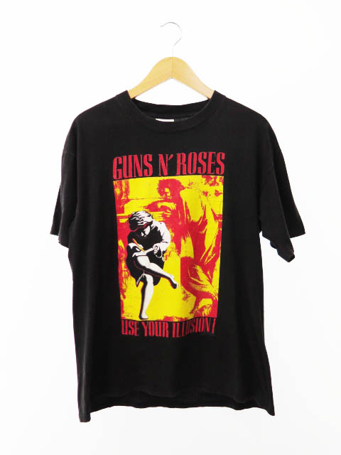 【中古】ヴィンテージ VINTAGE 90s ヴィンテージ Guns N' Roses ガンズ・アンド・ローゼズ 1991年 USA製 BROCKUM Tシャツ L 黒 ブラック ブランド古着ベクトル 中古191011 0050 メンズ