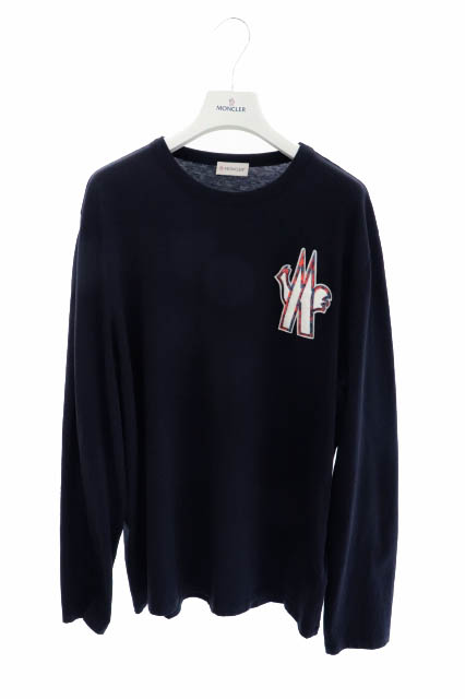 【中古】モンクレール MONCLER MAGLIA T-SHIRT M/LUNGA ロゴ ワッペン 長袖 Tシャツ ロンT F10918D70120 8390T XL ネイビー ブランド古着ベクトル 中古 200323 0130 メンズ