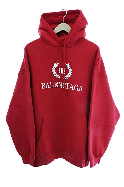 【中古】バレンシアガ BALENCIAGA 18AW BB ロゴ スウェット プルオーバー パーカー UP57 2018 00838 XL 赤 レッド ブランド古着ベクトル 中古 ☆AA★ 200509 0120 メンズ