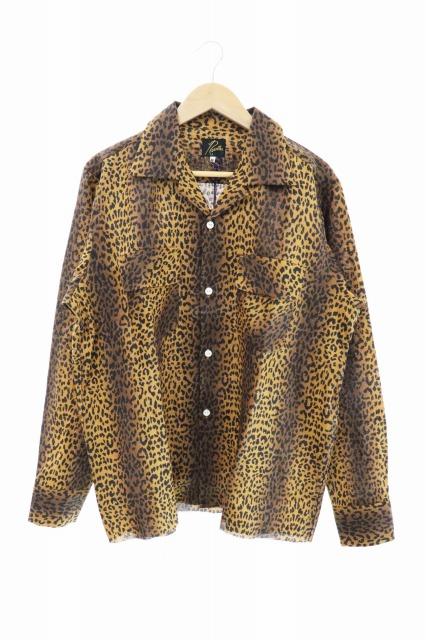 【中古】ニードルス Needles 未使用 20SS Cut-Off Bottom Classic Shirt Linen Cloth Leopard Print レオパード柄 カットオフ 長袖シャツ M 茶 ブラウン ブランド古着ベクトル 中古200309 0125