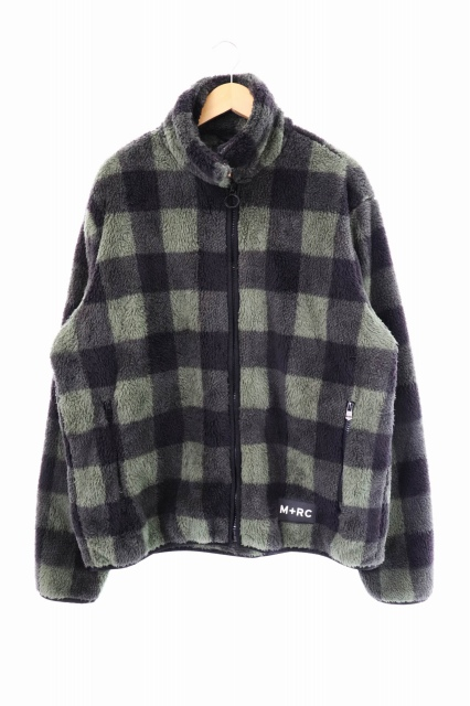 【中古】M+RC NOIR マルシェノア Untitled Flannel Style Soft Fleece Jacket チェック柄 フリース ジャケット XL カーキ ブランド古着ベクトル 中古200316 0050 メンズ