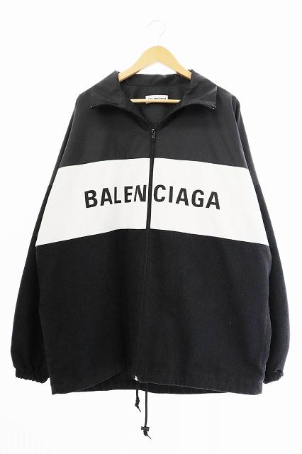 【中古】バレンシアガ BALENCIAGA 18AW デニム切替 ロゴ ナイロン トラック ジャケット 529213 TBQ03 34 ホワイト ブラック ブランド古着ベクトル 中古☆AA★ 200416 0700 メンズ