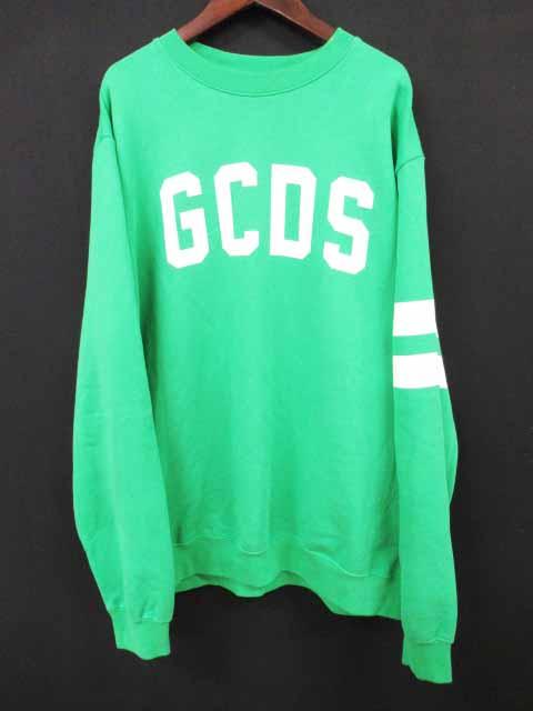 GCDS 18SS ロゴプリント クルーネック スウェット トレーナー L 緑【ブランド古着ベクトル】【中古】181021 メンズ