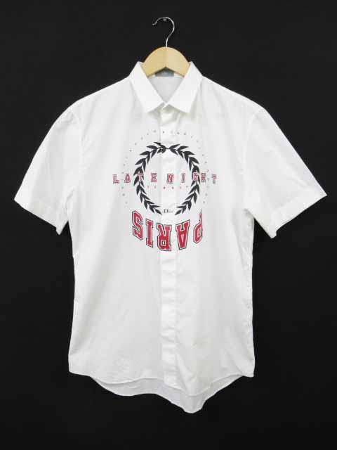 ディオールオム Dior HOMME 18SS LATENIGHT SUMMER PARIS 半袖 プリント シャツ 40 白【ブランド古着ベクトル】【中古】181105☆AA★200 メンズ
