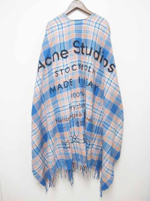 【中古】アクネ ストゥディオズ Acne Studios CASSIAR PONCHO ウール プリント ストール チェック ポンチョ CA0015【ブランド古着ベクトル】200213 レディース 【ベクトル 古着】 200213 プリマベーラ