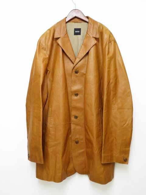 【中古】ヒューゴボス HUGO BOSS パンチングレザー ジャケット コート 56【ブランド古着ベクトル】200425 メンズ 【ベクトル 古着】 200425 プリマベーラ