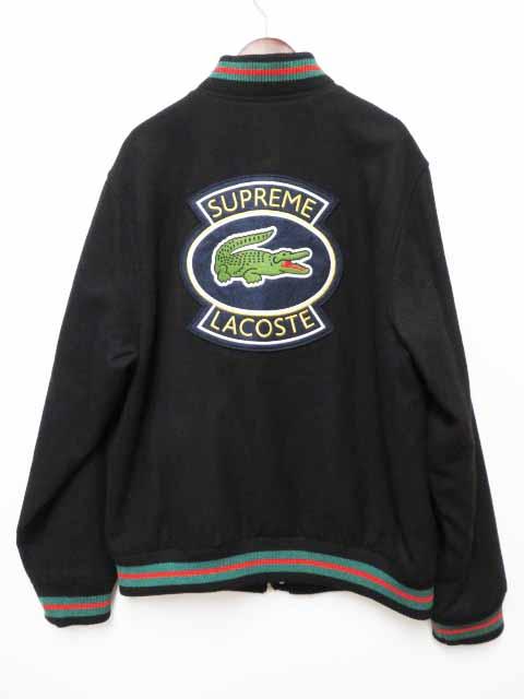 【中古】シュプリーム SUPREME 18SS LACOSTE ラコステ Wool Varsity Jacket ウール ジャケット M Black 黒【ブランド古着ベクトル】200417☆AA★ メンズ 【ベクトル 古着】 200417 プリマベーラ