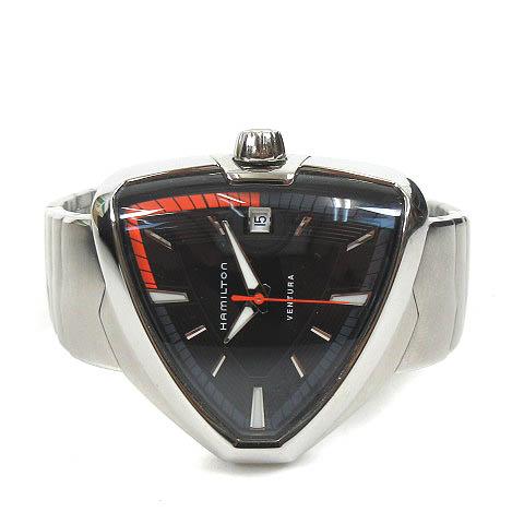 ハミルトン HAMILTON Ventura Elvis 80 H245510 ベンチュラ 腕時計 クォーツ 3針 カレンダー 黒 メンズ 【中古】【ベクトル 古着】 180722 ブランド古着ベクトルプレミアム店