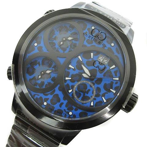 未使用品 カーティス Curtis & Co. Big Time WORLD 57mm 4Time Zone JAPAN LIMITED EDITION 腕時計 レオパード ブルー 青 メンズ 【中古】【ベクトル 古着】 170820 ブランド古着ベクトルプレミアム店