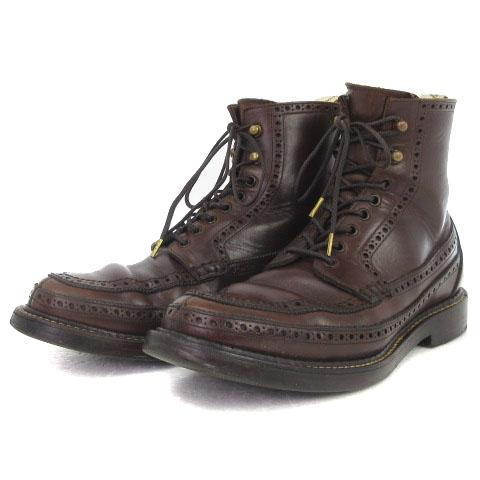 フットザコーチャー foot the coacher FULL BROGUE MOCCASIN BOOTS フルブローグ モカシン ブーツ レザー ブラウン 茶 7 1/2 靴 メンズ 【中古】【ベクトル 古着】 181031 ブランド古着ベクトルプレミアム店