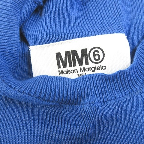 エムエムシックス MM6 マルタンマルジェラ Martin Margiela ワンピース ニット ノースリーブ 膝丈 ギャザー ボーダー コットン 青 白 M 0606 NVW レディースベクトル 古着200606 ベクトルプレミアム店yb67gYf