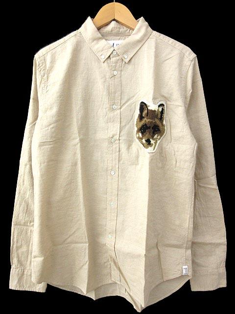 未使用品 FINGER FOX AND SHIRTS フィンガーフォックスアンドシャツ 【Pointer】40/-Oxford FOX WAPPEN Shirts FFAS 18SS ワッペン オックス シャツ 綿 コットン L ベージュ BGE FFF FFS-0053 B メンズ 【中古】【ベクトル 古着】 180807 ブランド古着ベクトルプレミアム店