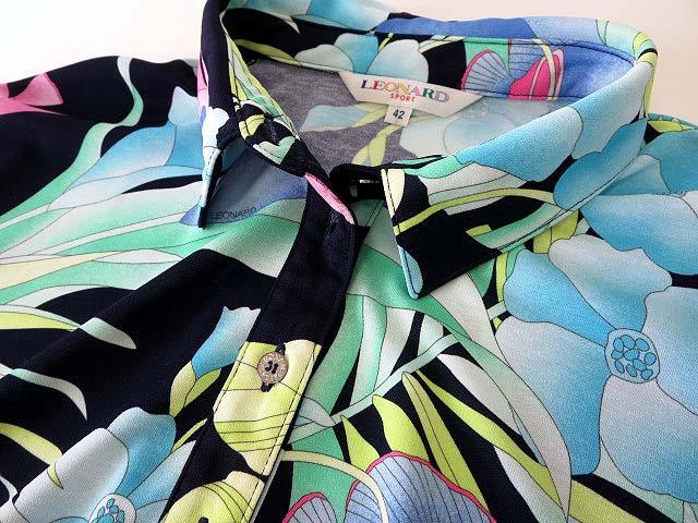 レオナールスポーツ LEONARD SPORT ブラウス チュニック ポロシャツ 半袖 五分袖 ベルスリーブ ボタニカル 花柄 42 紺 ネイビー ピンク ライム 緑 水色 国内正規品 ゆったり 大きいサイズ レディースベクトル 古着180807 ベクトル店UpGqMVSz