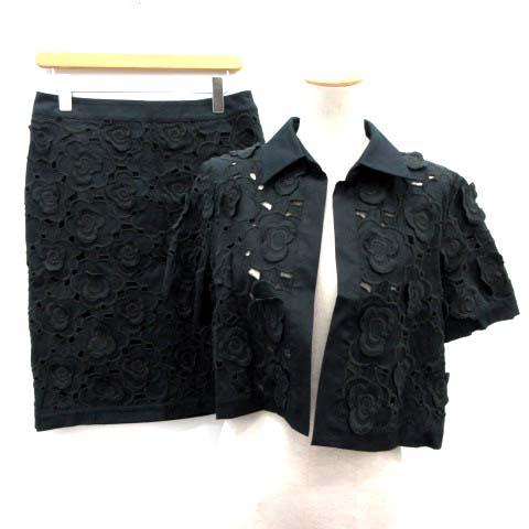 【中古】マックスマーラ MAX MARA セットアップ 上下 ジャケット スカート 花柄 黒 ブラック /EK レディース 【ベクトル 古着】 190808 ベクトルプレミアム店