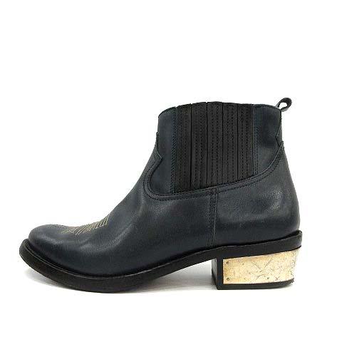 中古 ゴールデングース GOLDEN GOOSE ウエスタンブーツ アンクルブーツ Crosby Mirror Heel Ankle 正規逆輸入品 Boots ショート 23.0cm レザー チャンキーヒール 36 古着 レディース 定番スタイル 緑 210401 3.5cm ベクトル KH