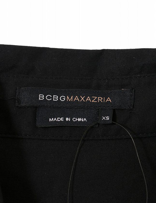 ビーシービージーマックスアズリア BCBGMAXAZRIA シャツワンピース Aライン 半袖 ミニ丈 XS コットン 黒 レディースベクトル 古着Onw0Pk