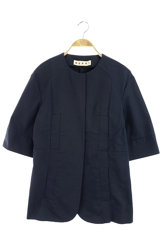 【中古】マルニ MARNI ジャケット ノーカラー 七分袖 40 紺 /KN ■OS レディース 【ベクトル 古着】 190705 ベクトルプレミアム店