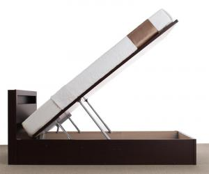組立設置付 開閉タイプが選べる跳ね上げ収納ベッド 薄型プレミアムポケットコイルマットレス付き 縦開き 深さレギュラー 日本 メーカー直売 セミダブル