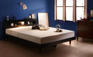 独特の上品 LEDライト・コンセント付きデザインベッド 床板仕様 マルチラススーパースプリングマットレス付き ダブル, 関東土建shop:30a63c3a --- jeuxtan.com
