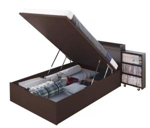 組立設置付 スライド収納_大容量ガス圧式跳ね上げベッド 薄型スタンダードポケットコイルマットレス付き 縦開き セミダブル 深さグランド