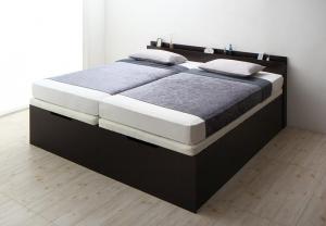 深型 収納付きベッド ベッド 縦開 キング(SS+S) 組立設置付 レギュラー すのこ 大容量 収納付 コンセント付 収納 ベット 薄型プレミアムボンネルコイルマットレス付 すのこベッド キング 跳ね上げベッド 連結