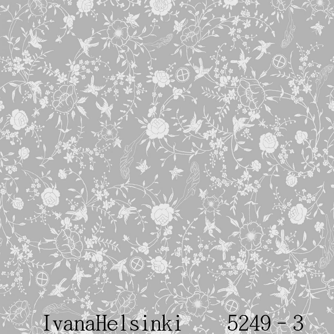 IvanaHelsinki イヴァナヘルシンキフィンランド製 壁紙5249-3【 53cm幅×10m巻 】裏面:フリース素材花 フラワー 北欧 自然 グレー×ホワイト輸入壁紙IvanaHelsinki Wallpaper★P10倍★