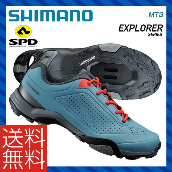 (送料無料)(SHIMANO)シマノ MTB マウンテンツーリング SPD SHOES シューズ MT3 ブルー(メーカー在庫限り 売切れ御免)