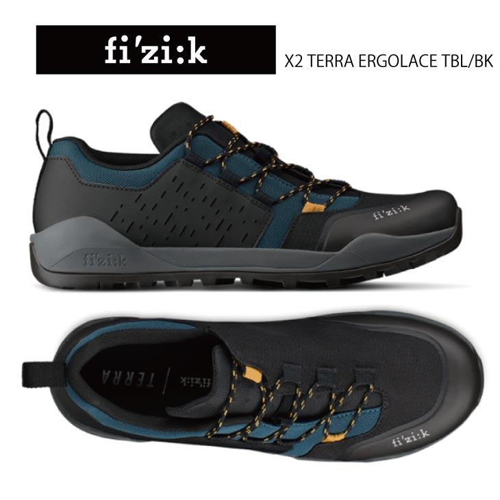 fizik フィジーク X2 TERRA ERGOLACE テラ エルゴレーサー ティールブルー/ブラック オフロードライド用シューズ