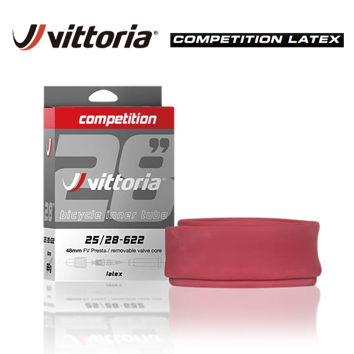 Vittoria COMPETITION LATEX TUBE Vittoria ビットリア COMPETITION LATEX TUBE コンペティション ラテックス チューブ 700C 仏式 バルブ長48mm バルブコア脱着可