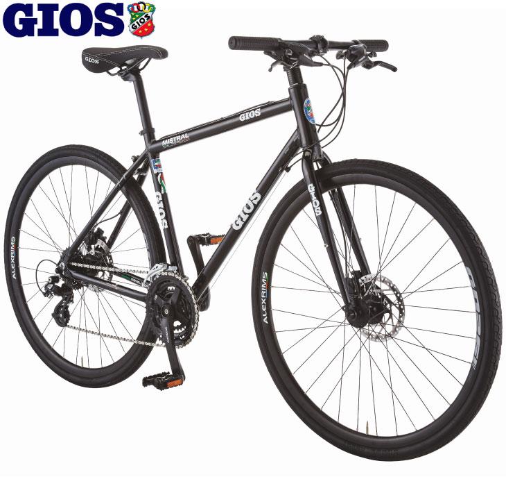 クロスバイク 2020 GIOS ジオス MISTRAL DISC HYDRAULIC ALEX WHEEL ミストラル ディスク ハイドロリック ALEXホイール仕様 ブラック 24段変速 油圧式
