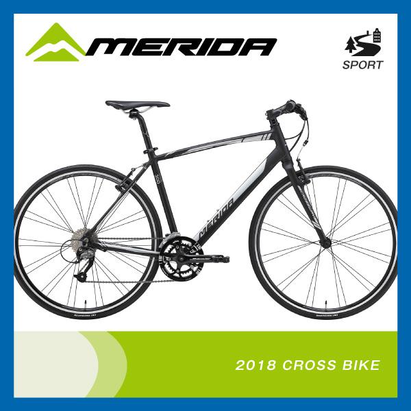 (特典付)クロスバイク 2018年モデル MERIDA メリダ CROSSWAY 300-R クロスウェイ300-R マットブラック(シャイニーシルバー) EK60