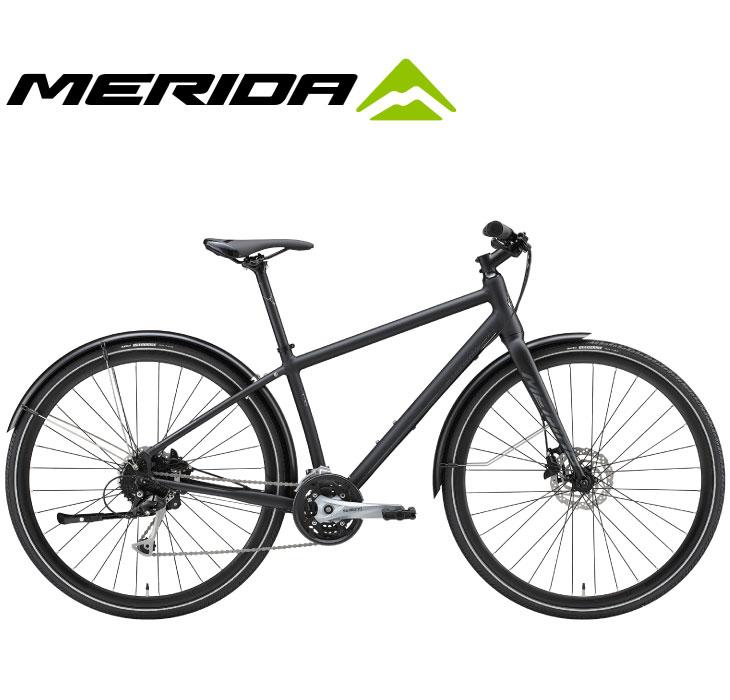 (選べる特典付)クロスバイク 2020 MERIDA メリダ CROSSWAY URBAN 100 クロスウェイアーバン100 マットブラック(グロッシーダークシルバー)【EK86】 泥除け付属