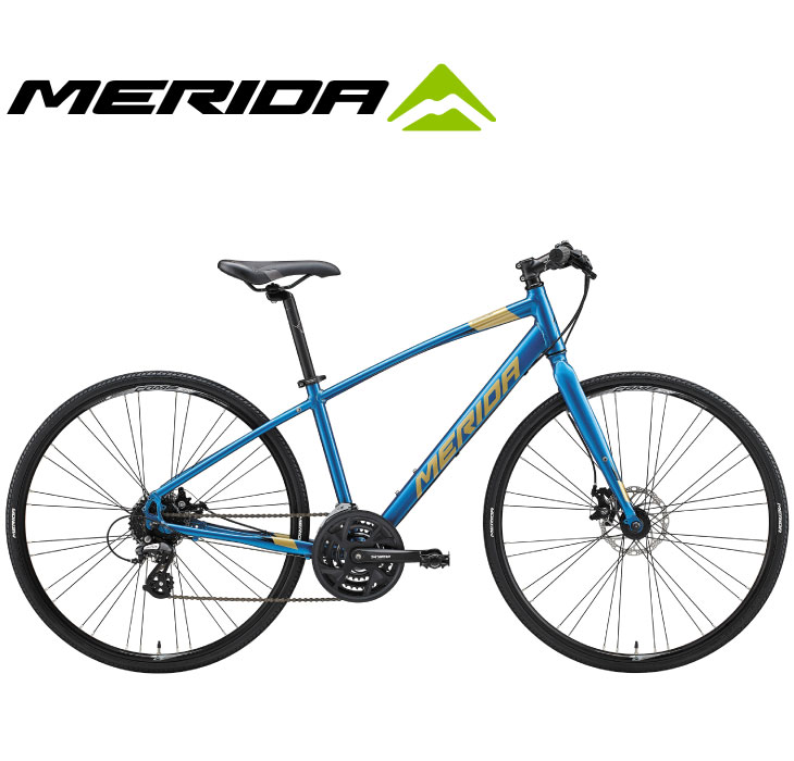 スタイリッシュに街を駆け抜ける、走りの楽しさを凝縮したバイク (選べる特典付)クロスバイク 2020 MERIDA メリダ CROSSWAY 200-MD クロスウェイ200MD シルクオーシャンブルー(ゴールド/ブラック)【EB82】 24段変速 700C アルミ