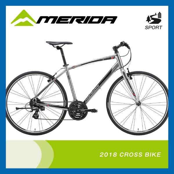 (特典付)クロスバイク 2018年モデル MERIDA メリダ CROSSWAY 100-R クロスウェイ100-R シャイニーダークシルバー(レッドブラック) ES46