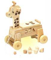 【木のおもちゃ】乗用キリン