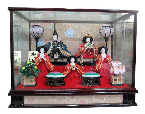 五人ケース飾り 0143S3835389【送料無料!】かわいい雛(ひな)人形と一緒に楽しくお祝しましょぅ♪【smtb-k】【ky】