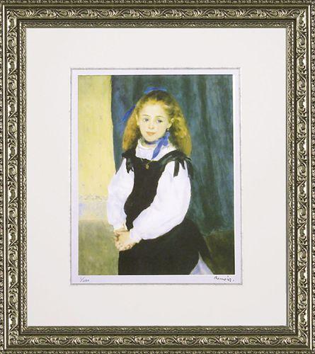取寄品 ピエール=オーギュスト ルノワール ルグラン嬢の肖像 額付きポスター インテリアアート 名画 印象派