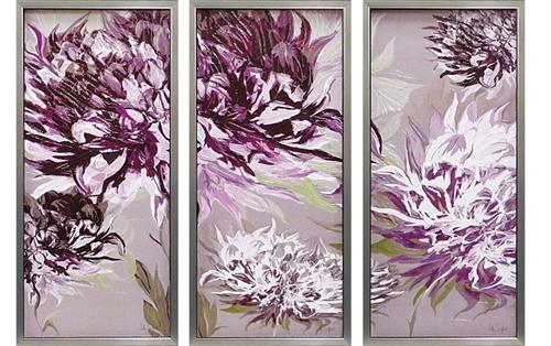 取寄品 サリー スカファーディ 紫の魅惑 額付きポスター3枚セット フラワーインテリアアート