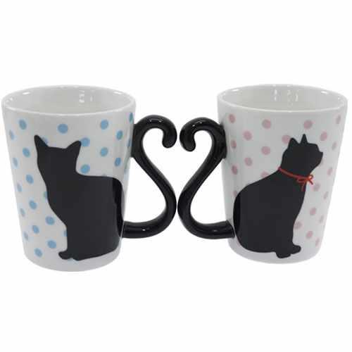 Cute Cat Mugs Dishwasher 2 Pieces Set Mug Black Dot Alta Honeymoon Celebration Gifts Tableware Kuroneko Gadgets Bell Common